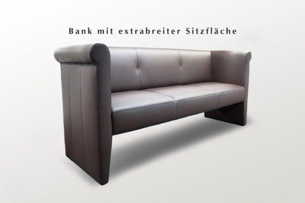 Schwarze Sitzbank aus Leder