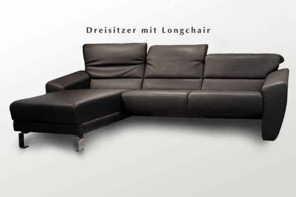 Longchair-Sofa mit individuellen Edelstahlfüßen