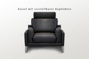 Moderner Leder-Polster-Sessel in schwarz mit Edelstahl