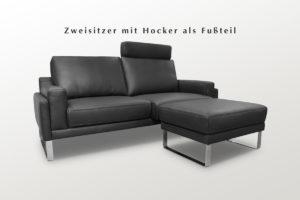 Sofa mit Liegefunktion und Hocker